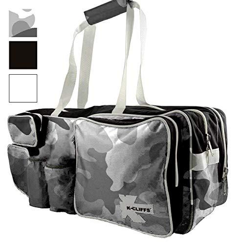(K-Cliffs Snow Camo White Black Tennis Racket Bag | Deluxe Ballistic Nylon | Shoe Compartment)