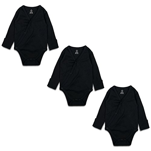 OPAWO Black Unisex Baby Long-Sleeve Kimono Bodysuits With Mitten Cuffs 3 Pack 0-3 Months