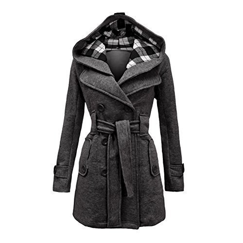 Belted Jacket (Envy Boutique Women's Military Button Hooded Fleece Belted Jacket 16 Charcoal Grey)