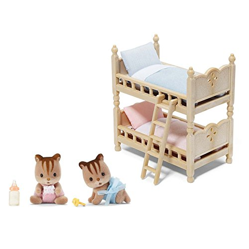 Calico Critters Playset Featuring Hazelnut Chipmunk Twins & Bunk Beds - 2 Items Bundled by Maven Gifts