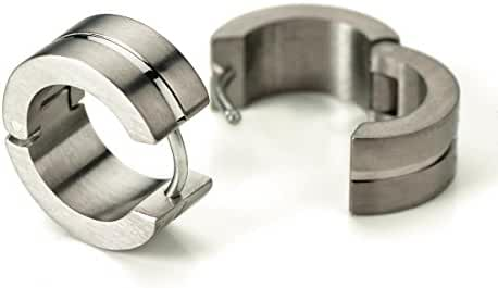0503-02 Boccia Titanium Brushed & Polished Hoop Earrings
