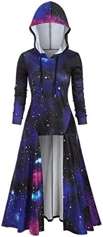 [해외]Thenxin Women`s Gothic Punk Hooded Cloak Tops Galaxy Printed High Low Hem Sweatshirt Blouse / Thenxin Women`s Gothic Punk Hooded Cloak Tops Galaxy Printed High Low Hem Sweatshirt Blouse(Navy,M)