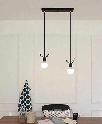 BOSSLV Modern Adjustable Height Iron Hanging Lamps Minimalist Antlers Shaped Interior Hanging Lamp, Chandelier for Parlor Dining Bedchamber E27 Design, Iron, Black ()