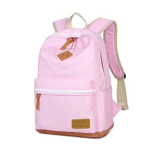 Mädchen Rucksack SKYIOL Daypack Alltagstasche Segeltuch Schulranzen mit Punkten Spitzen 7 Fächern Groß für 15,6 Zoll Laptop perfekt für Alltag Freizeit Schule Reise (Pink)