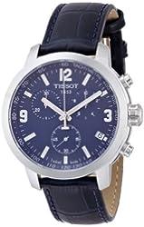 Tissot Blue Dial SS Leather Chronograph Quartz Men's Watch T0554171604700