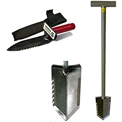 Lesche T-Handle Serrated Shovel and Digging Tool Left Side Serrated for Gardening and Metal Detecting