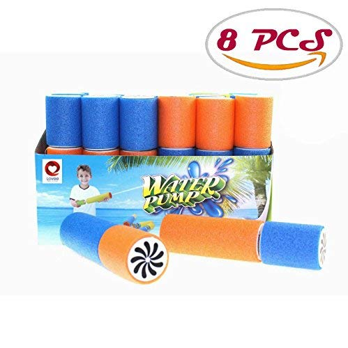 DLOnline 8 PCS Drifting water gun,Water Blaster,Light Weight Water Soaker,Soaker Foam Water Shooter,Water Blaster Mini Soaker,Foam Noodle Water Blaster(Size:6x1.6 inch)