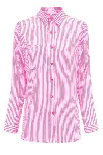 Longues Bouton Les Pink1 Manches Rayures Un Chemises De Chemise Dessus EqTUwvxT