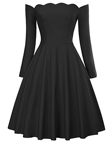 PAUL JONES 1950s Off The Shoulder Dress Long Sleeve Flared Dress for Cocktail Size XL Black