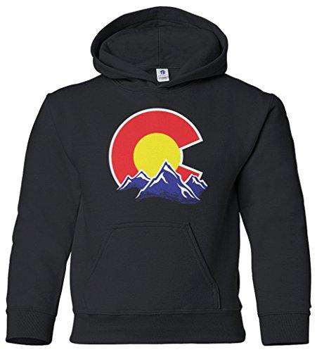 Threadrock Kids Colorado Mountain Youth Hoodie Sweatshirt L Black Colorado Youth Fleece Pullover