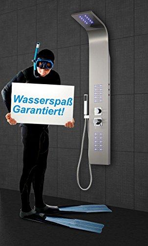 Luxuria® Duschpaneel LED inkl. Thermostat Armatur Regendusche Duscharmatur Wasserfall Duschsäule