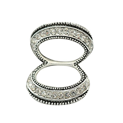 Maikun Double Rings Scarf ring Rhinestone Scarves Buckle Women Jewelry Silver-Tone Small Gift for Valentine's Mother's (Double Brooch Pin)