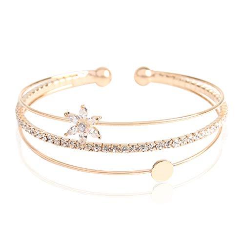 RIAH FASHION Sparkly Rhinestone Bridal Wedding Statement Bracelet - Cubic Zirconia Crystal Stretch Memory Wire/Adjustable Wrist Band Cuff/Hinge Bangle/Delicate Star Heart Flower (Cubic Flower - Gold)