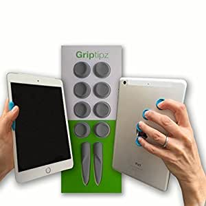 GRIPTIPZ: Grey - Ergonomic, Customizable Grips for iPad, Surface, Nook, Kindle and Large Format Phones
