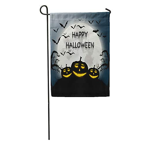 Semtomn Garden Flag Text of Happy Halloween Autumn Bat Black Cartoon Celebration Disco Home Yard House Decor Barnner Outdoor Stand 12x18 Inches Flag -