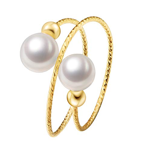 FancyStudio 14K Gold Filled Adjustable Ring with Double Freshwater Cultured Pearl,Fashion Ring for Women,Pearl Round,6mm