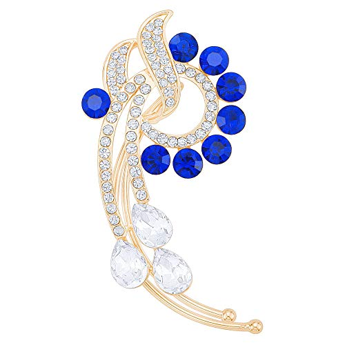 Gold-Tone Crystal Art Deco Flower Ear Wrap Ear Cuff Earrings Blue Right Side No Pierced Earrings ()