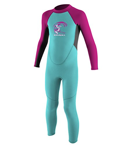 (O'Neill Toddler Reactor-2 2mm Back Zip Full Wetsuit, Aqua/Graphite/Berry, 3)