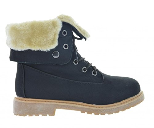 Dream Pair KIMBER Womens Winter Fur Lined Collar Lace Up Coz