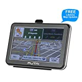 Putai GPS Navigation for Car and Truck, 5 Inch Vehicle GPS Navigator with High Resolution Touch Screen and Voice Reminding, Free Lifetime Maps