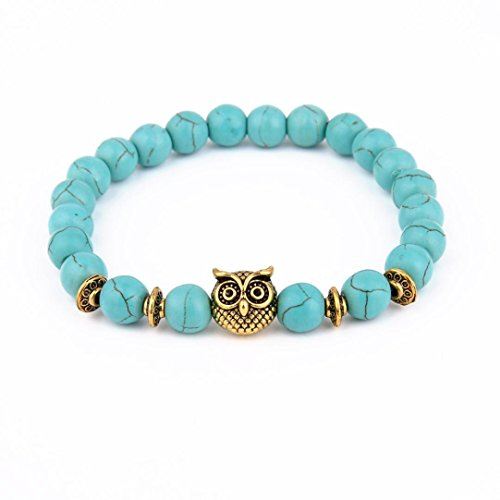 Price comparison product image JSPOYOU Promotions Women Owl Volcanic Stone Gold Bracelet Lava Stone Bead Bracelets (Blue)