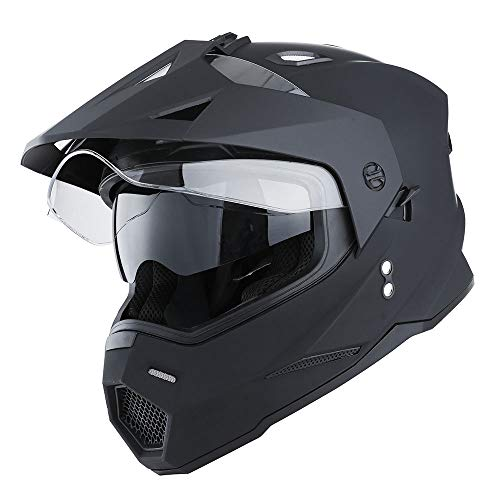 1Storm Dual Sport Motorcycle Motocross Off Road Full Face Helmet Dual Visor Matt Black, Size XL (Visor With Helmet Atv)