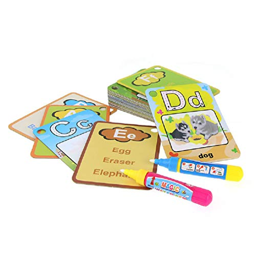 Alphabet Water Painting Cards with 2 Magic Water Pens - Cognitive Letters Word and A-Z Alphabet - Children Drawing Board Children Colouring Graffiti Card Educational Games Toys (Two Letter Words)