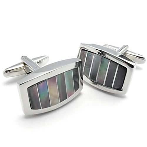 AMDXD Boutons de manchette Abalone Ful Colorful 2.2 Cmrhodium placage Hommes Colorful-Argent