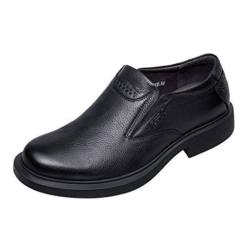 Zro Heren Premium Lederen Moc Teen Instapper Loafer Business Casual Zwart