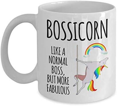 Bossicorn Boss Mug Gift For Christmas Birthday Funny Ideas Best Employee Appreciation Staff Coworker Pole Dancing Unicorn Rainbow Coffee Cup