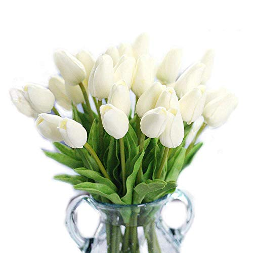 CATTREE Artificial Tulip, 20pcs Artificial Flowers Fake Plants Real Touch Fake PU Flower for Wedding Bride Bridesmaid Bouquets Garden Home Decor Party Centerpieces Arrangement Decoration - White ()