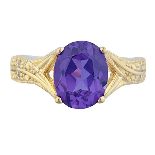 3 Ct Created Alexandrite & Diamond Oval Design Ring 14Kt Yellow Gold Rose Gold Silver