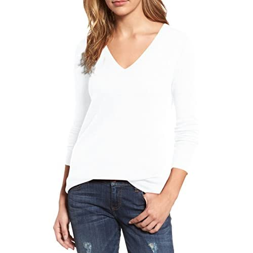 Viottiset Women's V Neck Long Sleeve Ribbed Knit Pullover Sweaters Jumpers