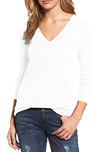 Viottis Women's V-Neck Cashmere Blending Ribbed Knit Pullover Sweaters Jumpers (XL, White)
