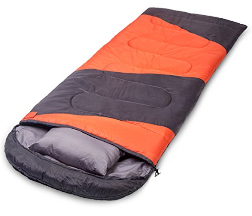 X-CHENG Sleeping Bag - ECO Friendly Materials - Waterproof & Machine Washable - 40℉ Available - Perfect for Camping, Hiking - Color Blocking - Comes with Complimentary Gift(Orange)