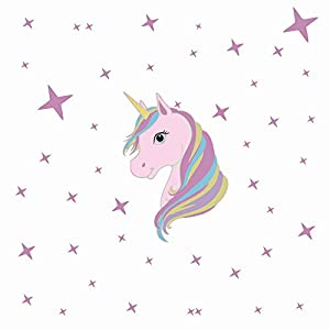 KUYUE Wall Decals Removable Unicorn Wall Stickers for Girls Decorations Bedroom Living Room Playroom Classroom
