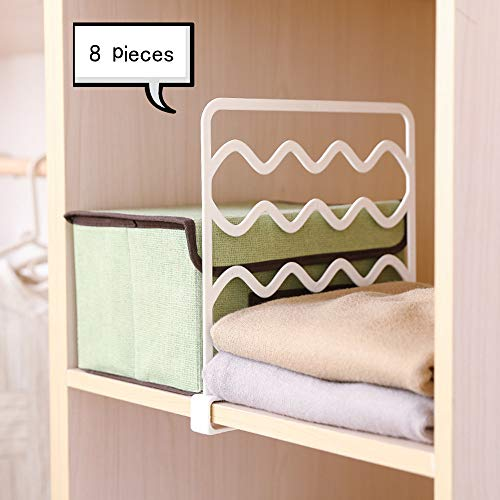 Kosiehouse Closets Shelf Divider and Organizer, Wood Shelves, Kitchen Cabinets, and Libraries, Closet Clothes Organizer - 8 Pack
