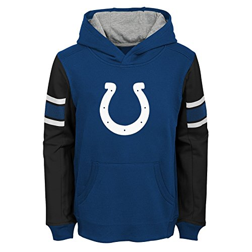 Indianapolis Colts Merchandise - NFL Indianapolis Colts Kids & Youth Boys Man in Motion Color Blocked Pullover Hoodie, Speed Blue, Kids Large(7)