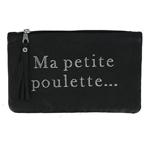Bolsa de Cuero Bordada Ma Petite Poulette Color Negro