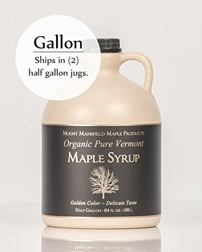 Mansfield Maple Certified Organic Pure Vermont Maple Syrup in Plastic Jug Golden Delicate (Vermont Fancy), Gallon (Ships as 2 Half Gallons)