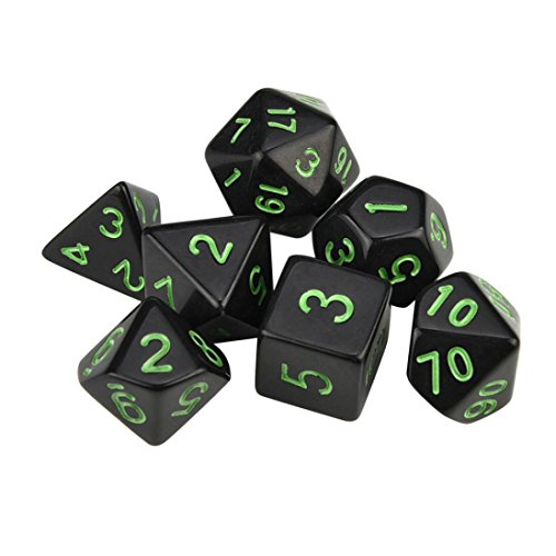 RPG Game Dungeons Dragons Polyhedral Multi Sided Acrylic Dice Fun Game Gift Chores Decider for Party Play Toys,Green ()