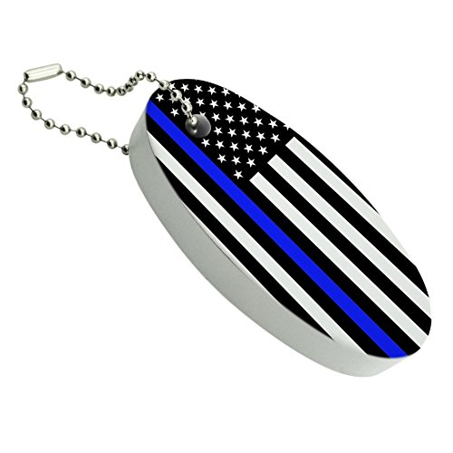 GRAPHICS & MORE Thin Blue Line American Flag Floating Foam Keychain Fishing Boat Buoy Key ()