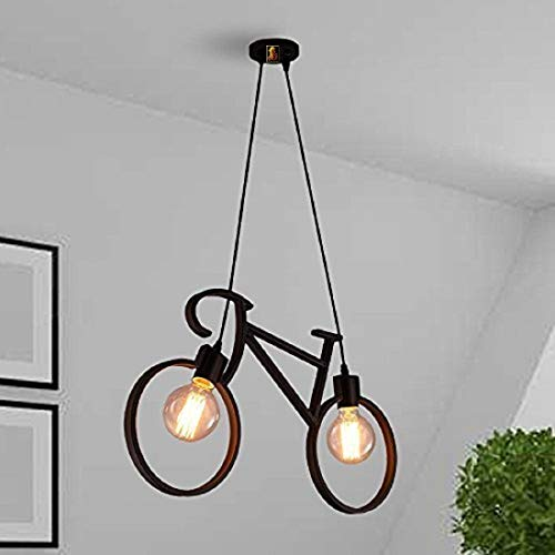 SL Light Hanging Ceiling Pendant Light Metal Antique Cycle Shape for Home Decor Living Room (Black, Bulb not Included)