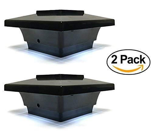 Solar Post Cap Low Profile 4 SMD LED Black 4X4 Vinyl & Wood ( 2 Pack ) PL251B