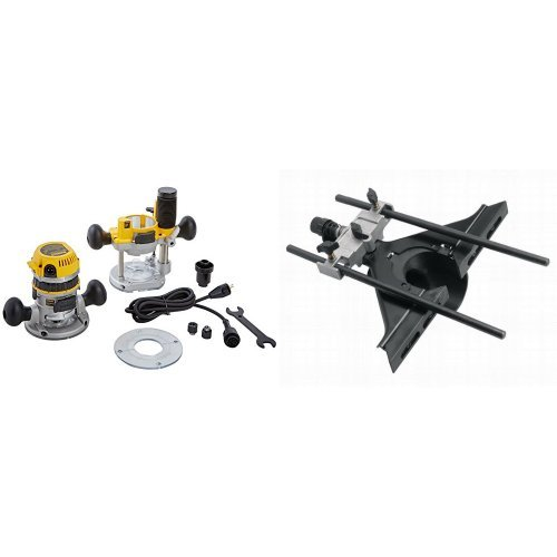 DEWALT DW618PK 12-AMP 2-1/4 HP Plunge and Fixed-Base Variable-Speed Router Kit with Router Edge Guide with Fine Adjustment and Vacuum Adaptor