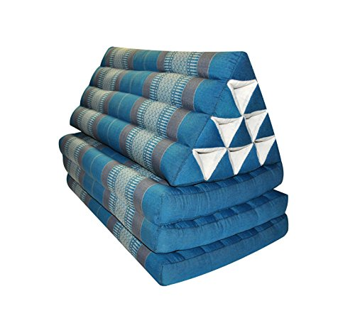 Thai triangle cushion/mattress XXL, with 3 folding seats, blue/grey, sofa, relaxation, beach, pool, meditation, yoga, made in Thailand. (82618) by Wilai GmbH