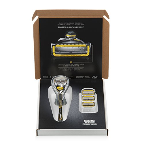 Gillette Fusion ProShield Chill Bundle with 1 Razor with Flexball Technology + 4 Razor Blade Refills, Mens Razors / Blades