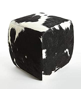 Peachy Gaucho Cowhides Black White Cowhide Square Pouf 18 Inches Evergreenethics Interior Chair Design Evergreenethicsorg