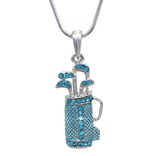 cocojewelry Golf Club Set Bag Sporting Goods Pendant Necklace Sports fashion Jewelry (Aqua Blue)