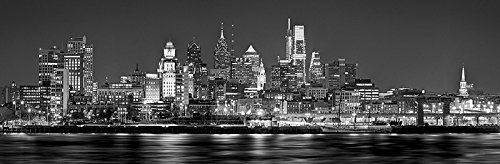 2018 PHOTO PRINT UNFRAMED NIGHT from East Black & White BW Philly City Downtown 11.75 inches x 36 inches Photographic Panorama Print Photo Picture Standard Size ()